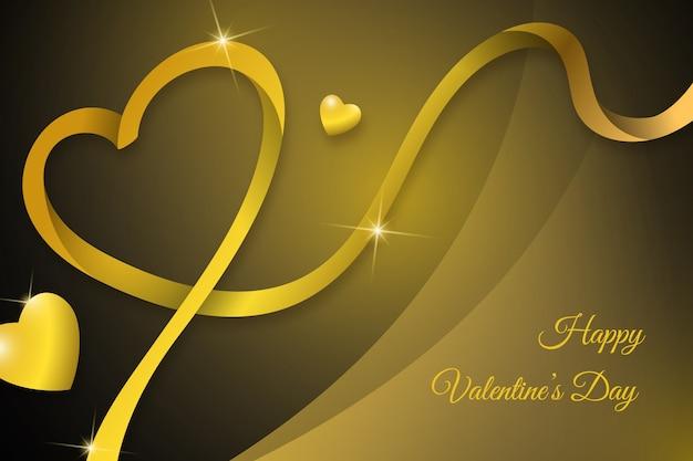 豪華な黄金の幸せなバレンタインデーの背景