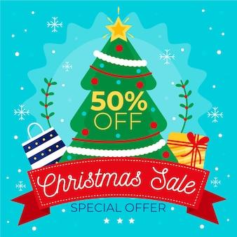 Плоский дизайн рождественские продажи концепции