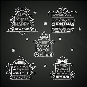 黒板にクリスマスラベルコレクション