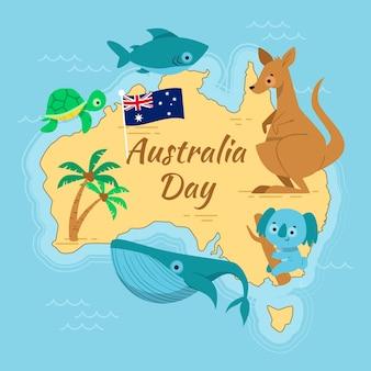 オーストラリアの日のフラットなデザインコンセプト