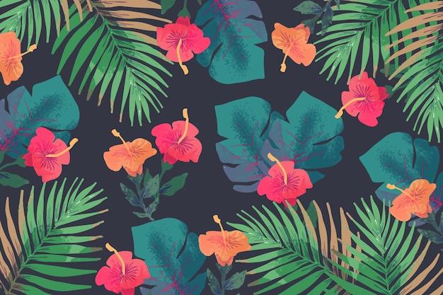 Концепция экзотических рисованной цветы