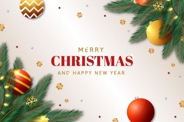 Рождественский фон с реалистичным украшением