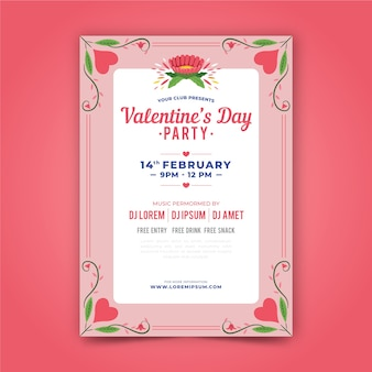 Ручной обращается день святого валентина партии плакат шаблон