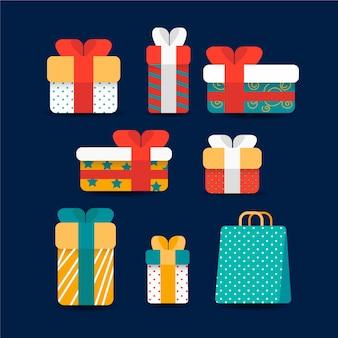 Коллекция подарков санты в плоском дизайне
