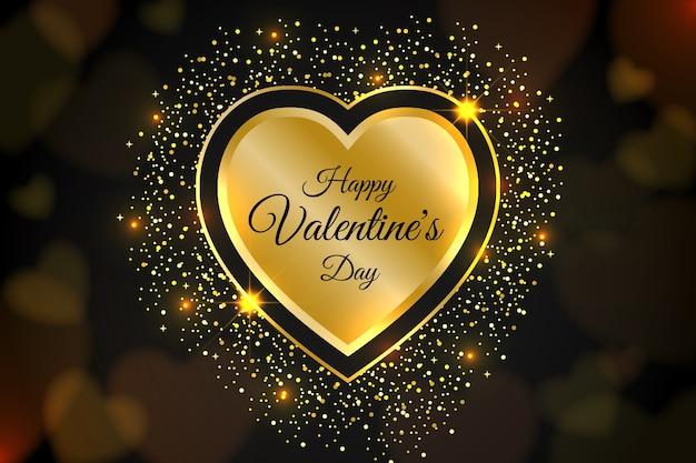 光沢のある要素を持つ黄金のバレンタインデーの背景
