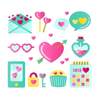 バレンタイン要素コレクションフラットなデザインスタイル