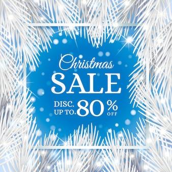 Реалистичные рождественские продажи шаблон