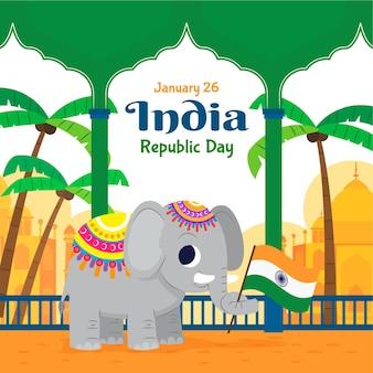 フラットなデザインのインド共和国記念日のコンセプト