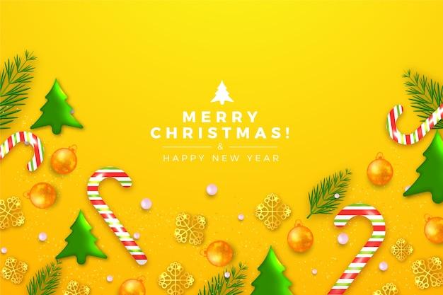 かわいいツリーの装飾とクリスマスの背景