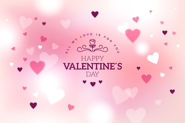 ピンクのバレンタインの心と背景がぼやけ