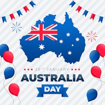風船で幸せなオーストラリアの日レタリング