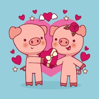 バレンタインの子豚カップル手描き