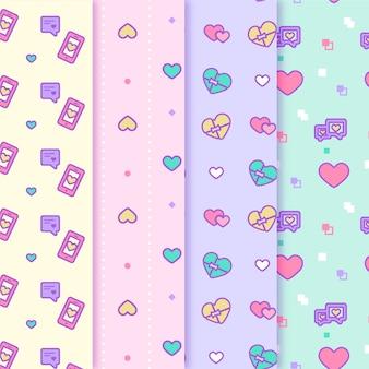 かわいいカラフルなハートバレンタインパターン