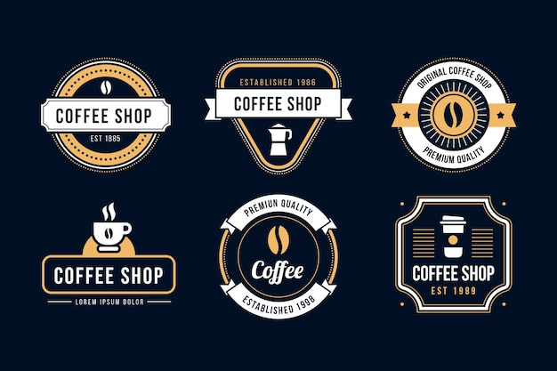 コーヒーショップレトロなロゴセット