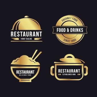 黄金のレトロなレストランのロゴを設定