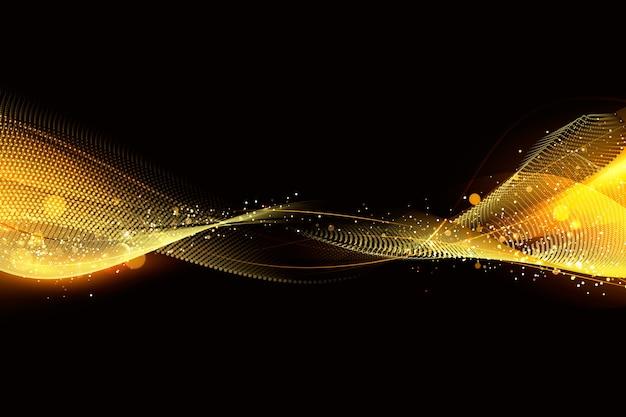 輝く粒子と光沢のある波背景