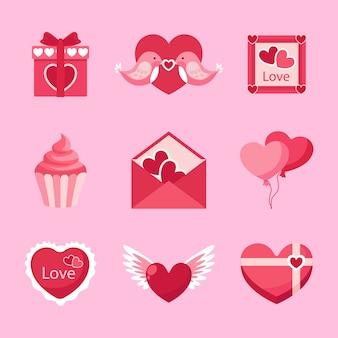 フラットなデザインのバレンタインデーの要素のコレクション