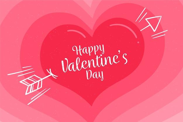 バレンタインデーの背景のグラデーションピンク色合いの心