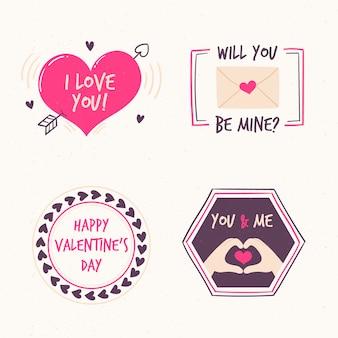 バレンタインデーのラベルのさまざまなデザイン