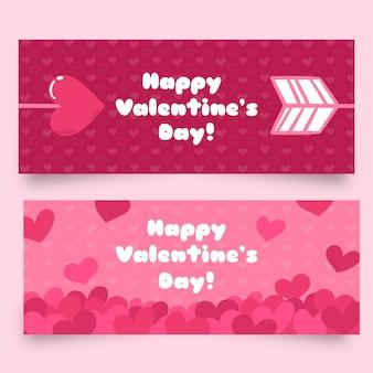 Плоские баннеры на день святого валентина со стрелами и сердца