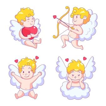翼を持つかわいいキューピッド天使キャラクター