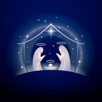 抽象的なキリスト降誕のシーンイラスト