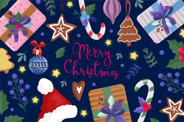 水彩のクリスマス飾りとテキスト