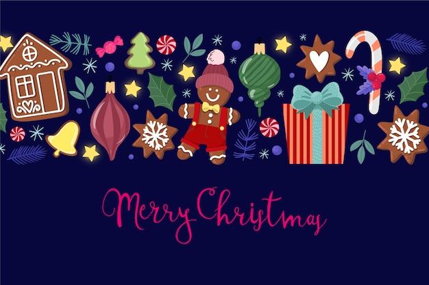 メリークリスマスと水彩のクリスマス飾り