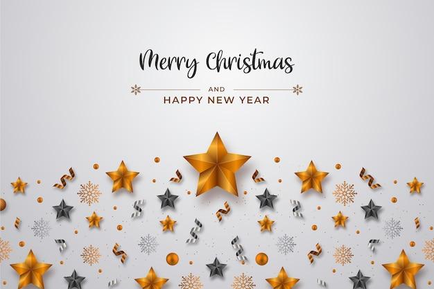 現実的なクリスマスの星とリボンの装飾背景
