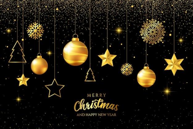 黒い背景に豪華な黄金のクリスマスボールをぶら下げ