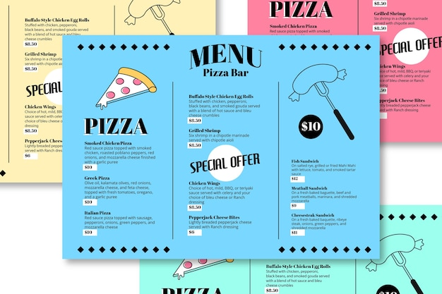 Шаблон меню ресторана пицца бар