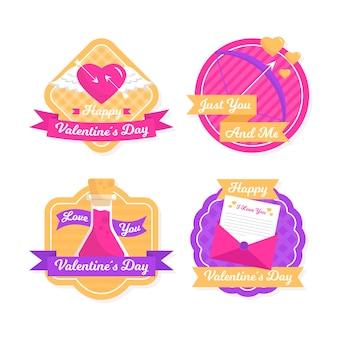 フラットなデザインのバレンタインデーバッジコレクション