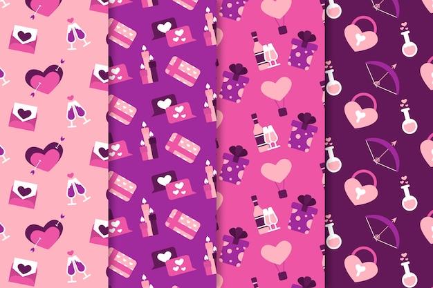 День святого валентина шаблон коллекции плоский дизайн в стиле