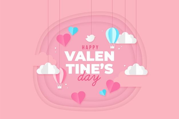 День святого валентина фон с облаками и сердца в стиле бумаги
