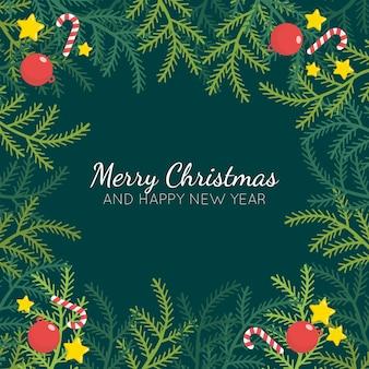 フラットなデザインのクリスマスツリーの枝の背景