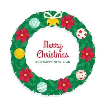 Плоский рождественский венок с цветами пуансеттия