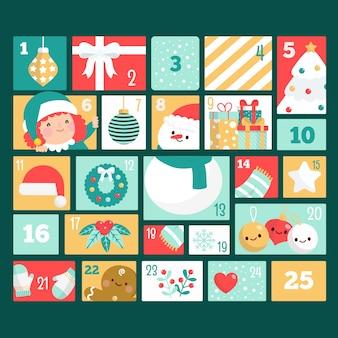 フラットなデザインのクリスマスの日のカウントダウンカレンダー