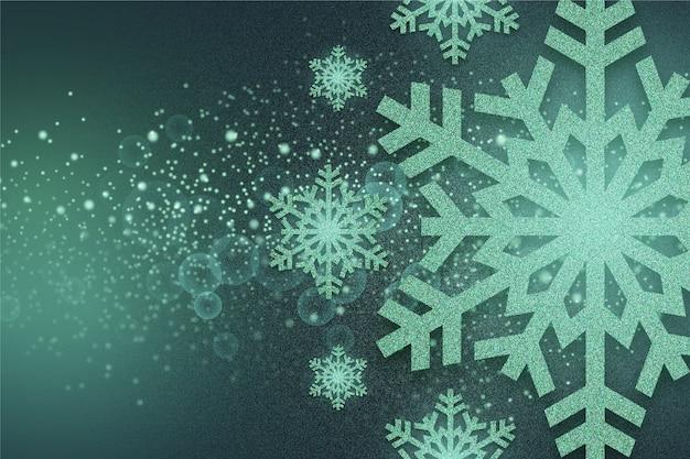 Эффект блеска на фоне снежинок