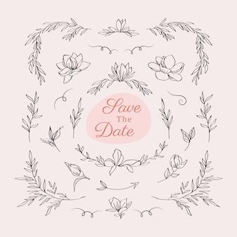 美しい花の結婚式のロゴ