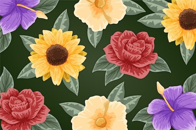 色とりどりの花の手描きの塗装