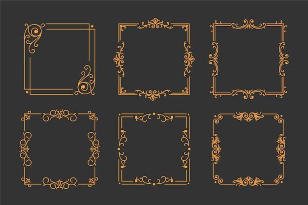 Набор старинных золотой раме на черном фоне