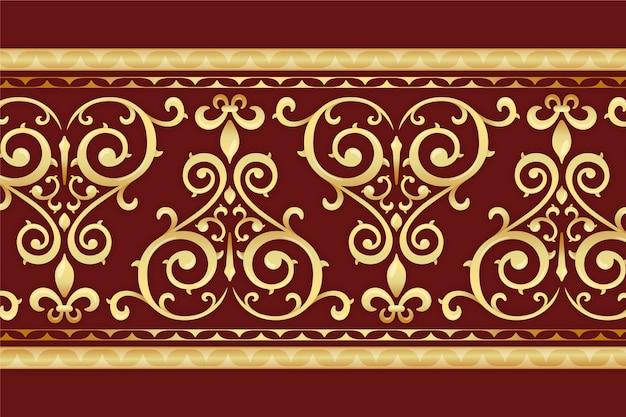 背景が赤の黄金の装飾的なボーダー