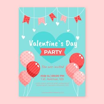 風船でフラットなデザインバレンタインパーティーフライヤー