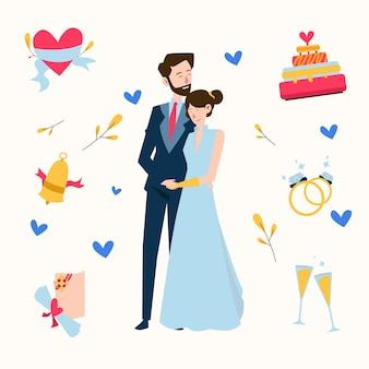 手を繋いでいる手描きの結婚式のカップル