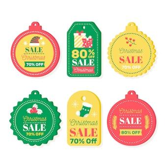 Плоские рождественские продажи тегов коллекции