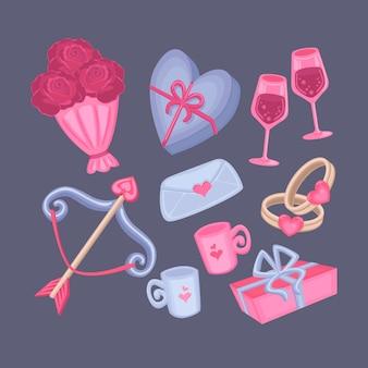 手描きのバレンタインデーの要素のコレクション