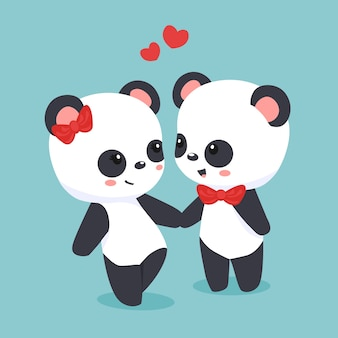 かわいいパンダカップルバレンタインデー