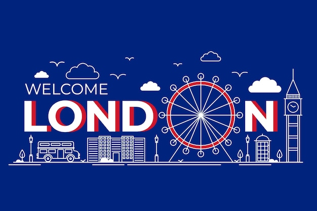 ロンドンの都市レタリングと主なアトラクション