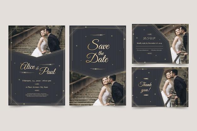 モダンなデザインのテンプレートの結婚式の招待状