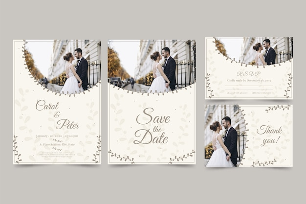 カップルとモダンな結婚式の招待状のセット